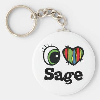 I Love (Heart) Sage Basic Round Button Key Ring