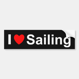 I Love Heart Sailing Bumper Sticker