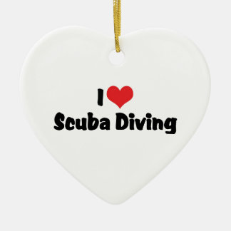 I Love heart Scuba Diving - Ocean Deap Sea Lover Ceramic Heart Decoration