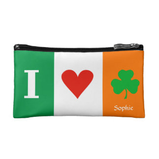 I Love Heart Shamrocks Ireland Cosmetic Bag
