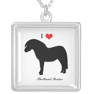 I love heart shetland ponies, necklace, gift, idea square pendant necklace