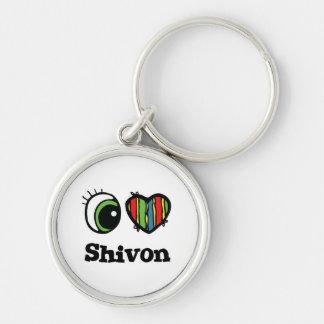 I Love (Heart) Shivon Silver-Colored Round Key Ring