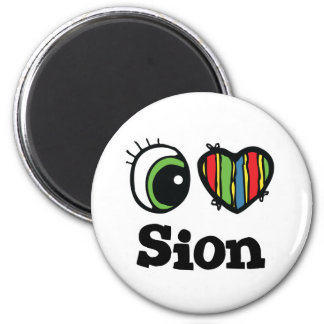 I Love (Heart) Sion 6 Cm Round Magnet