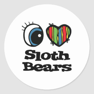 I Love (Heart) Sloth Bears Round Sticker