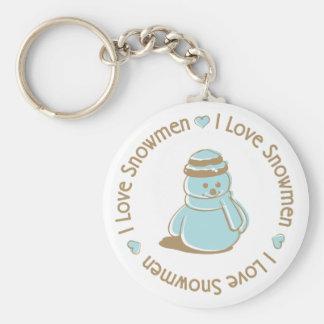 I Love Heart Snowmen Cute Christmas Design Basic Round Button Key Ring