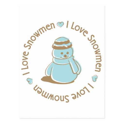 I Love Heart Snowmen Cute Christmas Design Postcard