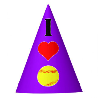 I Love Heart Softball Custom Color Party Hat