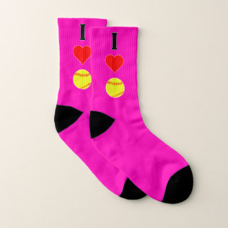 I Love (Heart) Softball Fastpitch Player Any Color Socks