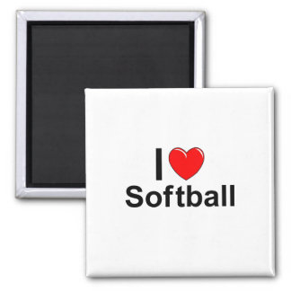 I Love Heart Softball Magnet