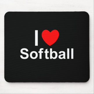 I Love Heart Softball Mouse Pad