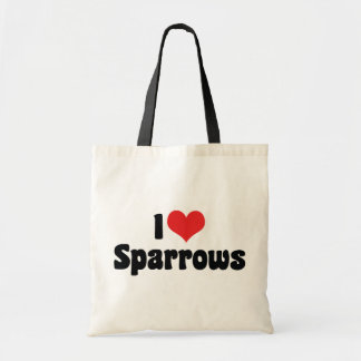 I Love Heart Sparrows - Bird Lover Budget Tote Bag