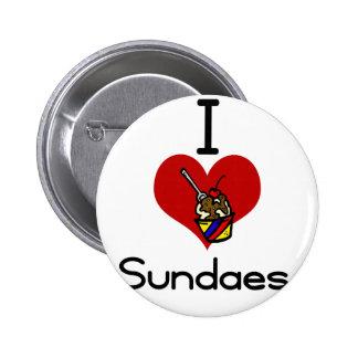 I love -heart sundaes 6 cm round badge