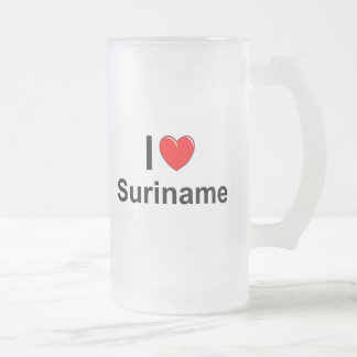 I Love Heart Suriname Frosted Glass Beer Mug