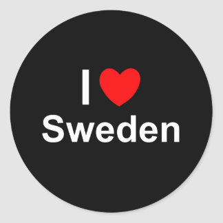 I Love Heart Sweden Classic Round Sticker