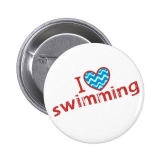 I love (heart) Swimming 6 Cm Round Badge