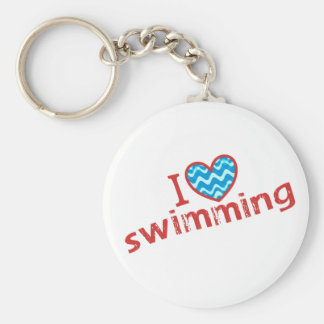 I love (heart) Swimming Basic Round Button Key Ring