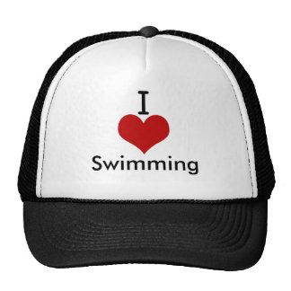 I Love (heart) Swimming Hats