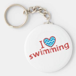 I love heart Swimming Key Chains