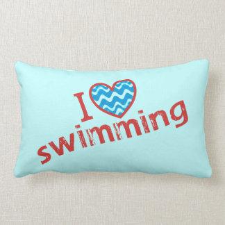 I love (heart) Swimming Lumbar Pillow