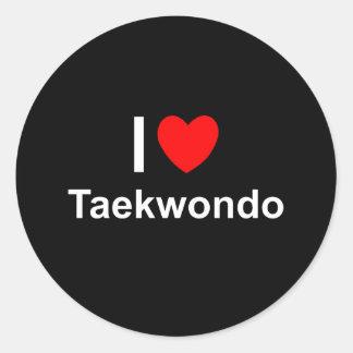 I Love Heart Taekwondo Classic Round Sticker