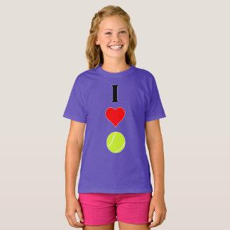 I Love (Heart) Tennis Vertical Girls T-shirt
