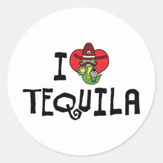 I Love Heart Tequila Round Sticker