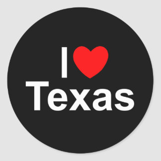 I Love (Heart) Texas Classic Round Sticker