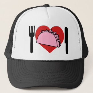 I Love Heart To Eat Pink Tacos Knife Fork Trucker Hat
