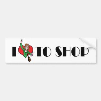 I Love Heart To Shop - Shopping Mall Lover Bumper Sticker