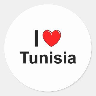 I Love Heart Tunisia Classic Round Sticker