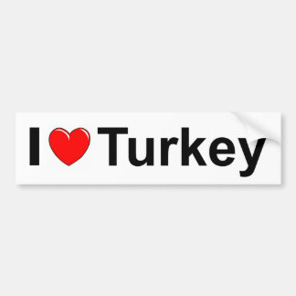 I Love Heart Turkey Bumper Sticker