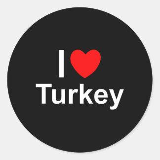 I Love Heart Turkey Classic Round Sticker