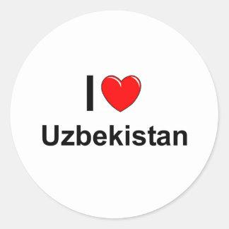 I Love Heart Uzbekistan Classic Round Sticker