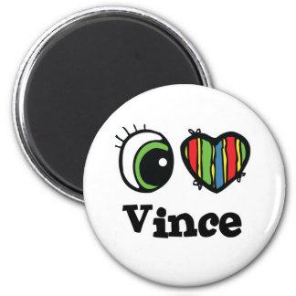 I Love (Heart) Vince 6 Cm Round Magnet