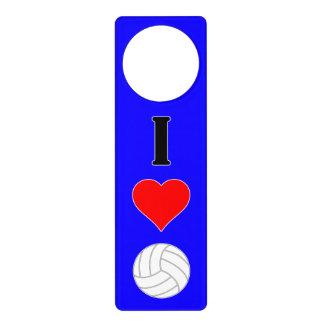 I Love (Heart) Volleyball Custom Color Door Hanger