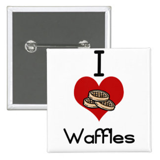 I love-heart waffles 15 cm square badge