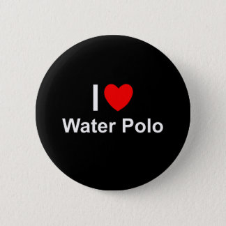 I Love Heart Water Polo 6 Cm Round Badge