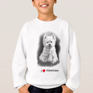 I Love (Heart) Westies: Pencil Drawing, Realism Sweatshirt