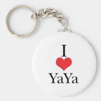 I Love (Heart) YaYa Basic Round Button Key Ring