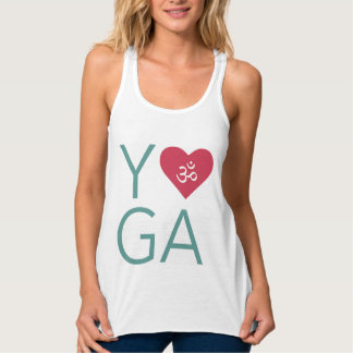 I Love (Heart) Yoga with Om Symbol Singlet