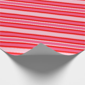 I Love Hearts Red, White and Pink Stripes Wrapping Paper