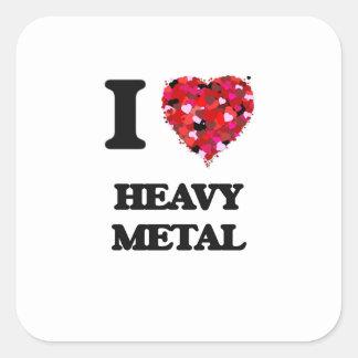 I Love Heavy Metal Square Sticker