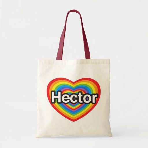 I love Hector. I love you Hector. Heart Canvas Bags