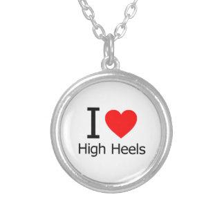 I Love High Heels Round Pendant Necklace