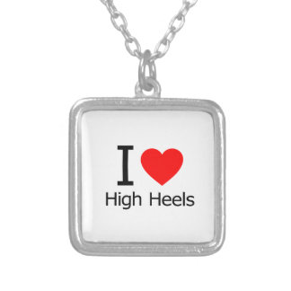 I Love High Heels Square Pendant Necklace