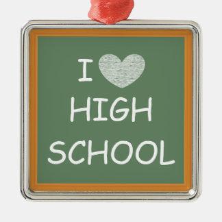 I Love High School Silver-Colored Square Decoration