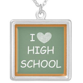 I Love High School Square Pendant Necklace