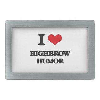 I love Highbrow Humor Rectangular Belt Buckles