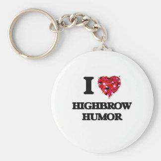 I Love Highbrow Humor Basic Round Button Key Ring