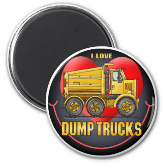 I Love Highway Dump Trucks Round Magnet